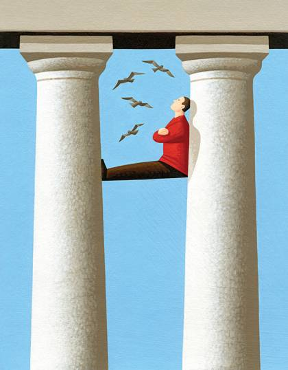 Illustration of a man scaling a pair of Greek revival columns