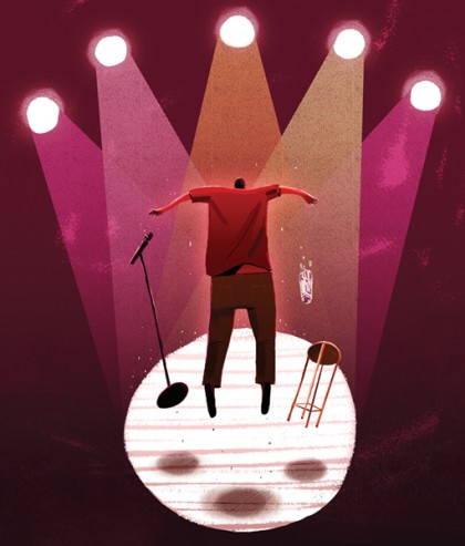 Illustration depicts a person on a stage with a microphone, stool, and bottle of water, standing up suddenly