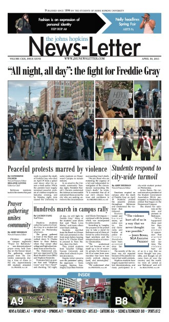Front page of the April 30, 2015, edition of 'The News-Letter'