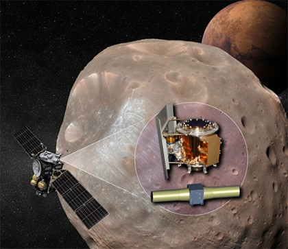 Spacecraft flies in front of cratered Martian moon