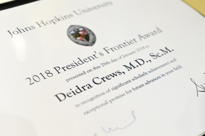 Close-up of President's Frontier Award citation for Deidra Crews