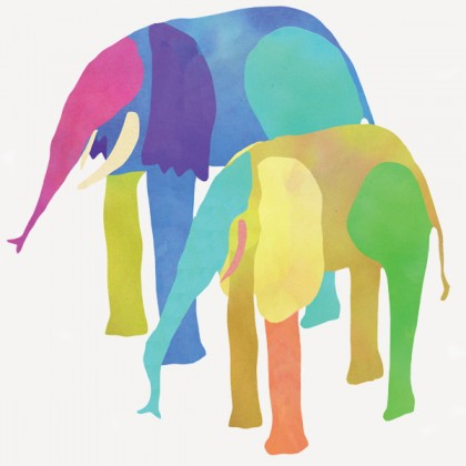 Illustration shows a mother and baby elephant in a patchwork color scheme