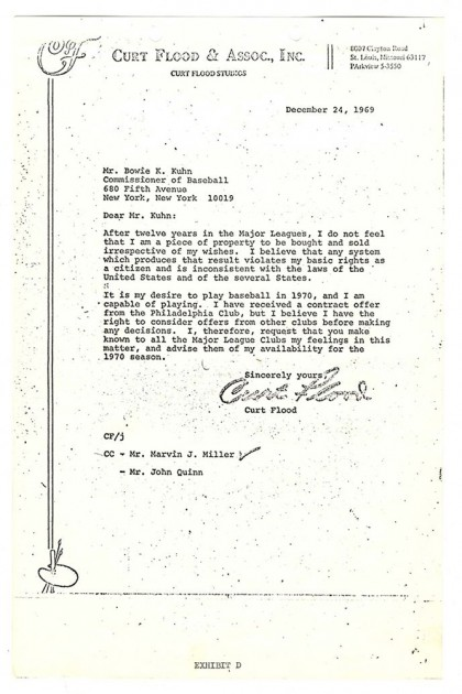 Photo of a letter written by Curt Flood