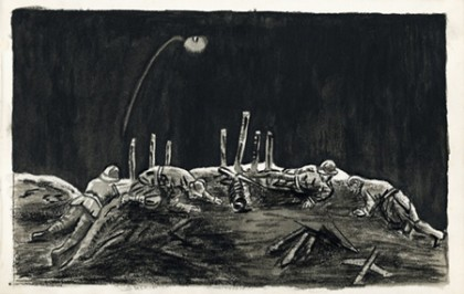 Black and white illustration features a berm with injured soldiers draped over it at night. The scene is illuminated by a flare in the sky