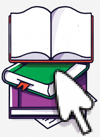 Illustration shows a computer cursor hovering over a stack of books