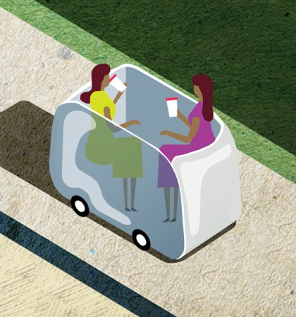 Illustration of two women drinking coffee in a driverless car