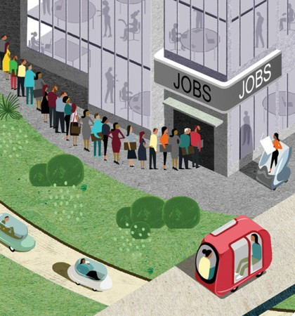 People line up at a storefront labeled 'jobs' as driverless cars drive by