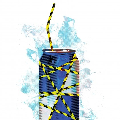 Energy drink with caution tape