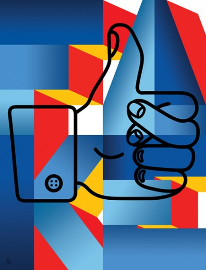 illustration of a like button, a thumbs up, with two fingers crossed