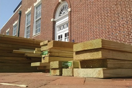 wooden 2x4s outside krieger hall