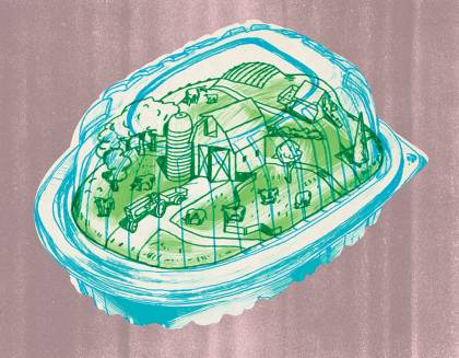 Illustration of a takeout chicken container with a farm inside
