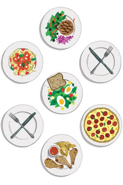 Seven plates feature five meals and two plates with the fork and knife crossed over them