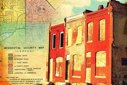 """Portions of a 1937 Home Owners' Loan Corporation """"residential security"""" map of Baltimore"""