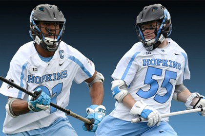 Two Hopkins lacrosse players on black-to-blue gradient background