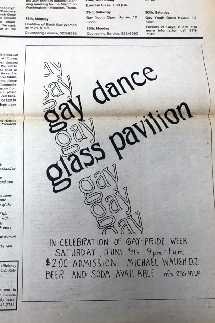 A clipping for the Baltimore Gay Paper that is a flier for a