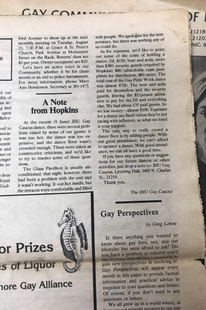 A letter published in the Baltimore 'Gay Paper'