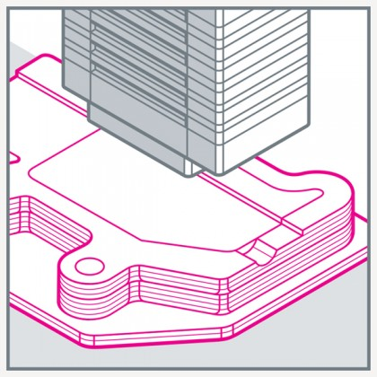 Illustration shows many layers of a substance being printed