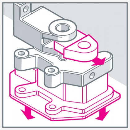 Illustration shows mounting pieces being removed from the bracket