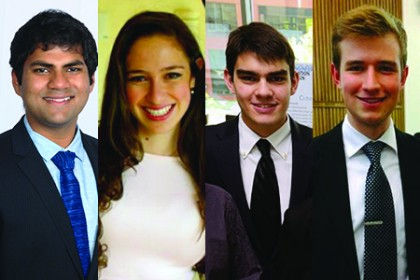 2016 Goldwater Scholarship Award honorees, from left: Vikas Daggubati, Nicole Michelson, Miguel Sobral, and Felipe d'Andrea