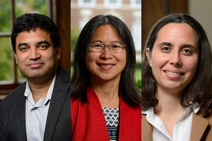Team members include (from left): David Gracias, Vicky Nguyen, and Rebecca Schulman
