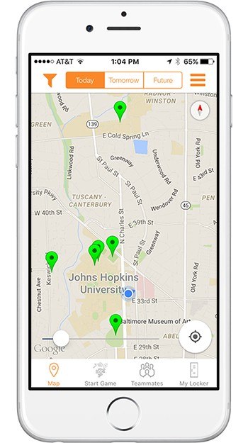 A screenshot of the Squadz app with green pins showing open games