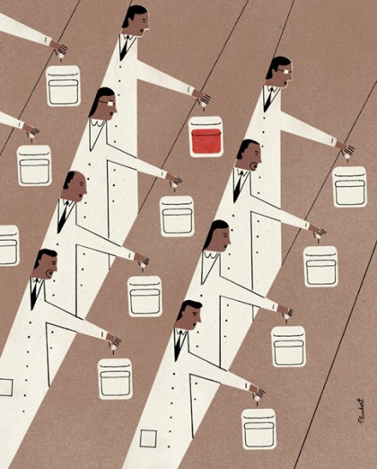 Illustration shows an assembly line of sorts of various scientists adding liquid to containers; only one is red