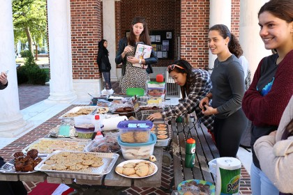 JHU students sell baked goods in the Breezeway to raise money for Puerto Rico hurricane relief.