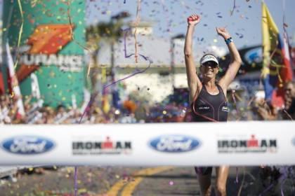 Joanna Zeiger crosses the finish line