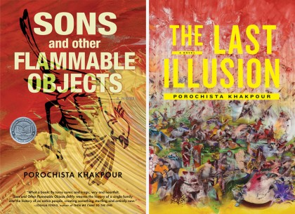 Two book covers: 'Sons and Other Flammable Objects' and 'The Last Illusion'
