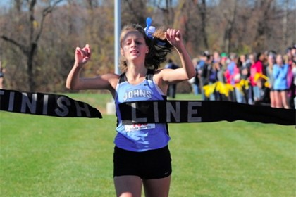 Felicia Koerner breaks through 'Finish Line' banner