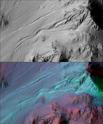 Black and white image on top features topography of Mars; bottom image features red, purple, and blue streaks indicating the materials on the surface.