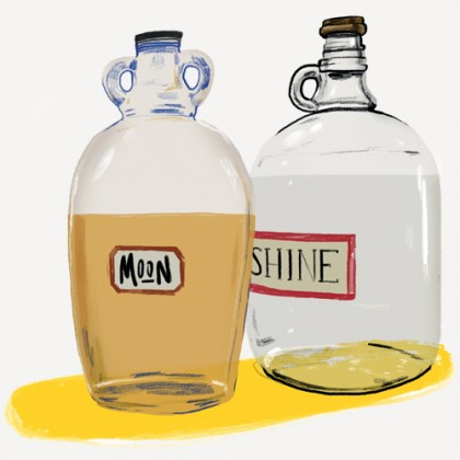Illustration features two bottles of moonshine, one full one empty