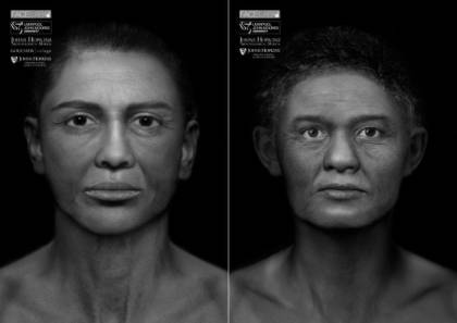 Depictions of the Goucher Mummy (L) and the Cohen Mummy (R), following two years of research and analysis of two individuals stewarded by the Archaeological Museum, including Meg Swaney, one of the presenters in the lecture series.
