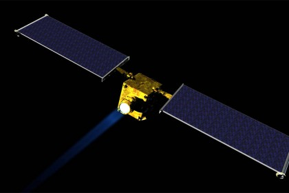Yellow cube spacecraft with two large black rectangular wings