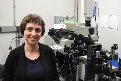 Natalia Drichko in her lab