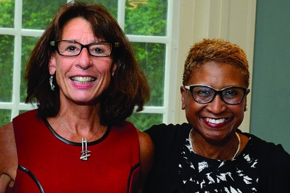 Eleanor Simonsick (left) and Paula Boggs at a reception on Homewood campus last fall
