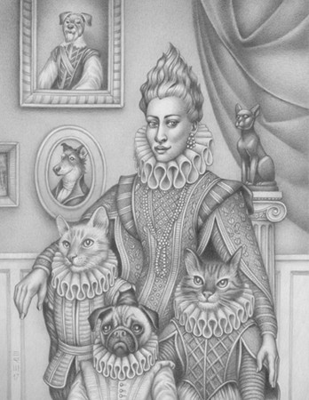 Illustration depicts a woman, two cats, and a dog all in Elizabethan ruffs and outfits