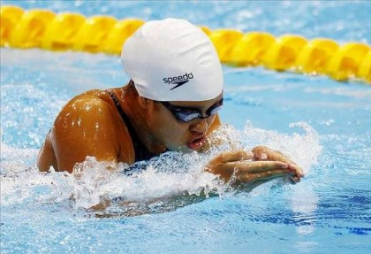Pilar Shimizu competes in the breast stroke at the 2012 London Olympics