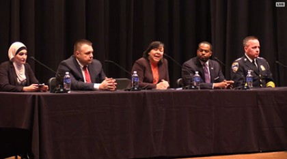 The panel on the Future of Policing in America, from left: Linda Sarsour, Mark Puente, Margaret Huang, Nick Mosby, and Kevin Davis