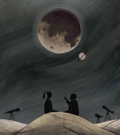 Illustration depicts two people looking up in the night sky at the moon and Saturn