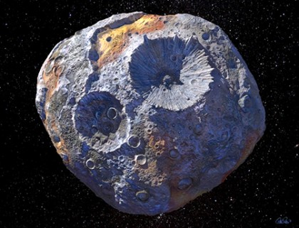 Artist's impression of 16 Psyche asteroid shows a bluish-gray, cratered object floating in space