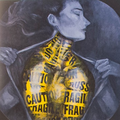 Painting of woman wrapped in yellow caution tape