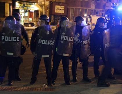 Baltimore police officers in riot gear