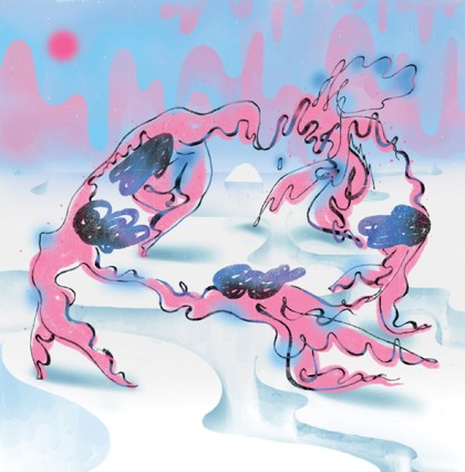 A drippy, trippy image of a ring of five people make of drippy pink goo