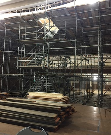 Scaffolding in place in auditorium interior