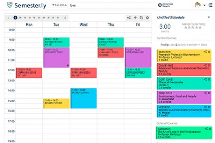 Image depicts a color-coded course schedule of six classes