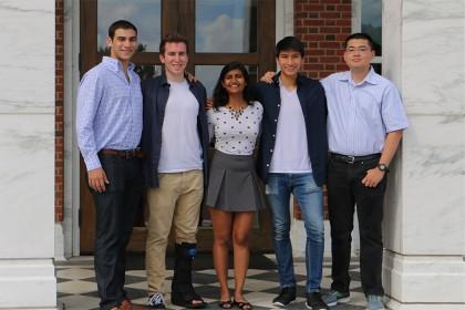 Semester.ly team members (from left): Noah Presler, Michael Miller, Neha Onteeru, Max Yeo, Eric Calder