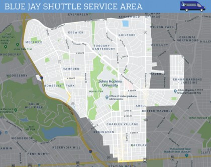 Outline of geographical area serviced by Blue Jay Shuttle Night Ride
