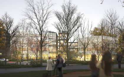 Conceptual rendering of the SNF Agora Institute building at Johns Hopkins University's Homewood campus