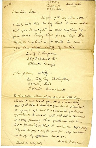 A yellowed piece of paper with a letter written in browning ink